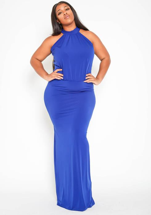 Asoph Plus Size Luxurious Blue Halter Neck Maxi Gown