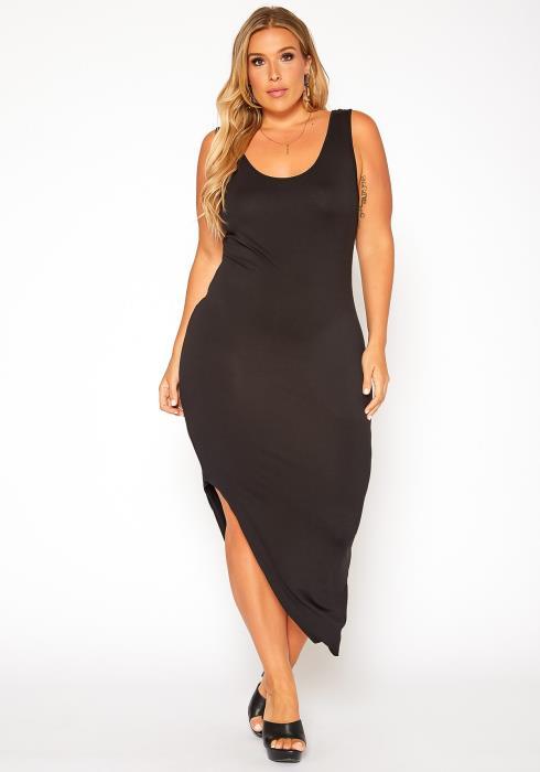 Asoph Plus Size Maxi Dress Crop Top Two Piece Set