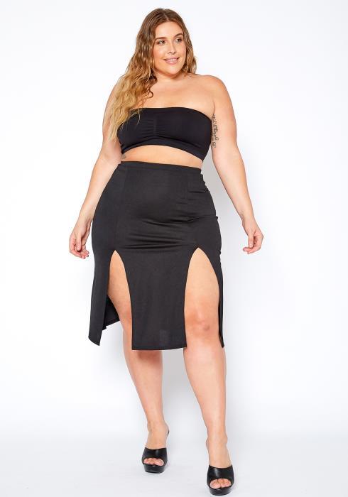 Asoph Plus Size Two Way Slit Pencil Skirt