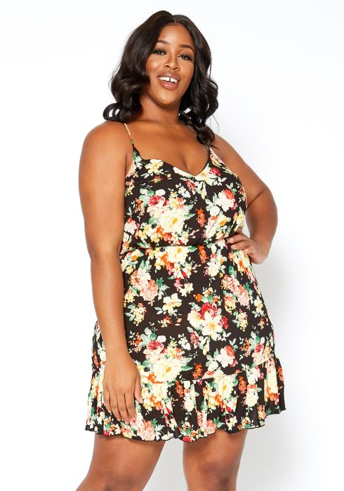 Asoph Plus Size Floral Print Crosslace Back Mini Dress