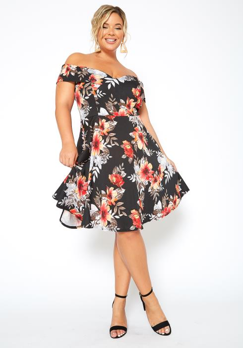 Asoph Plus Size Blooming Floral Fit & Flare Mini Dress