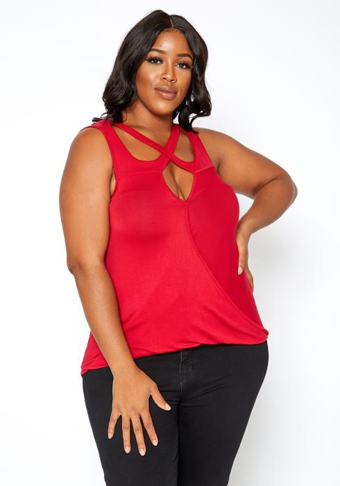 Asoph Plus Size Womens Criss Cross Sleeveless Top