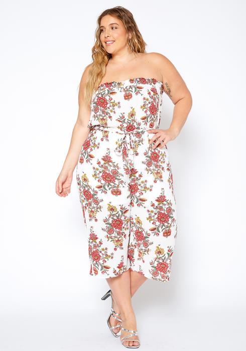 Asoph Plus Size Floral Tube Top Cropped Jumpsuit