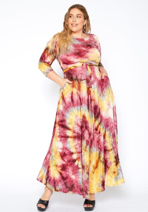 Asoph Plus Size Tie Dye Maxi Dress