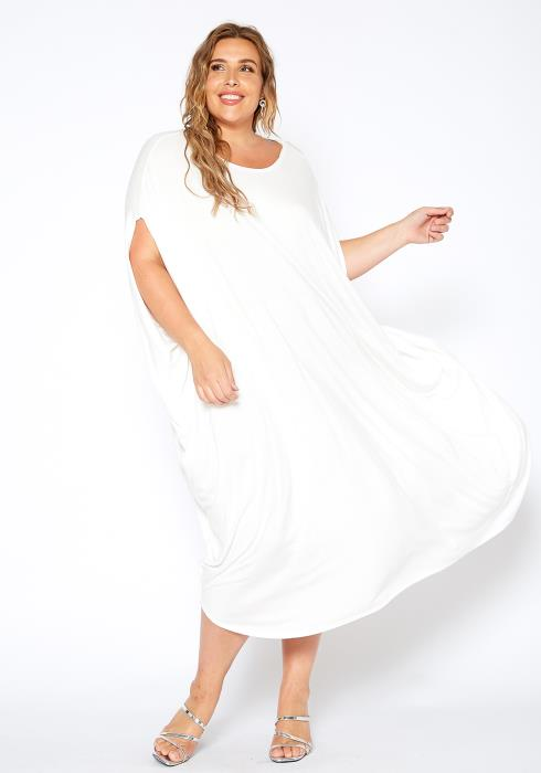 Asoph Plus Size Casual Wide Sleeve Maxi Dress