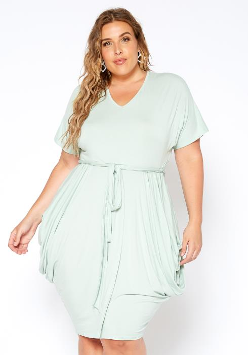 Asoph Plus Size Mint For You Harem Drape V Neck Dress