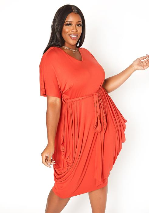 Asoph Plus Size One Of A Kind Hip Drape Mini Dress