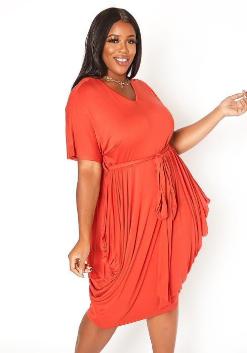 Asoph Plus Size One Of A Kind Hip Drape Mini Dress