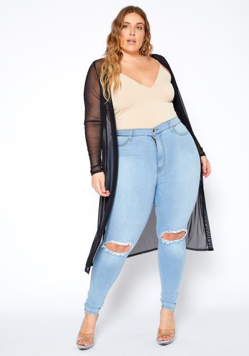 Asoph Plus Size Mesh Longline Open Front Cardigan