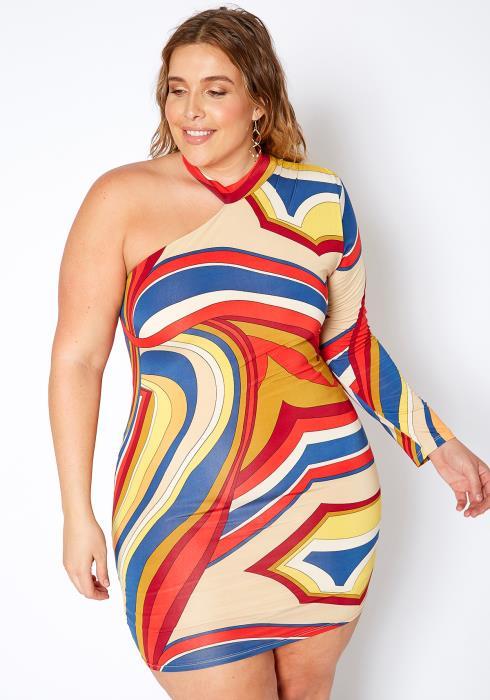 Asoph Plus Size Multi Color One Shoulder Dress