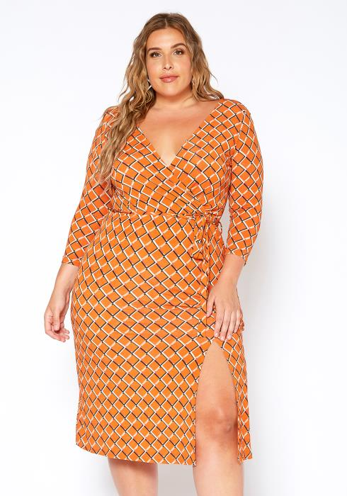 Asoph Plus Size Orange Diamond Link Print Midi Dress