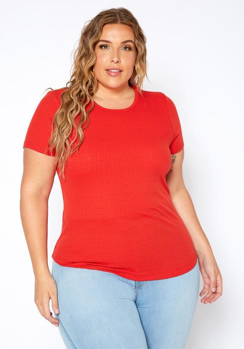Asoph Plus Size Casual Knit Rib Crew Neck Shirt