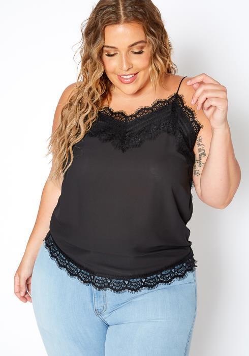 Asoph Plus Size Flirty Lace Trim Cami Blouse