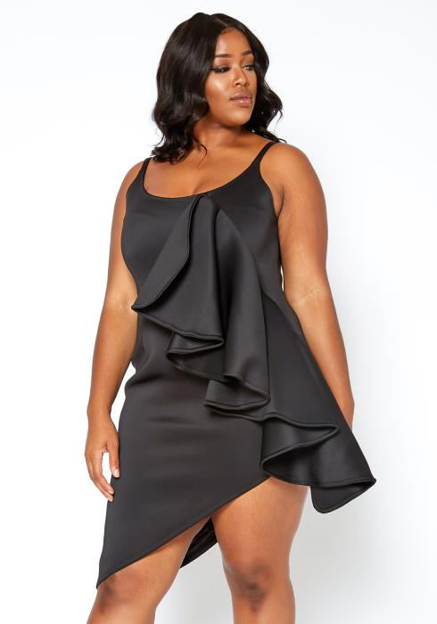 Asoph Plus Size Asymmetric Ruffle Drape Cami Dress