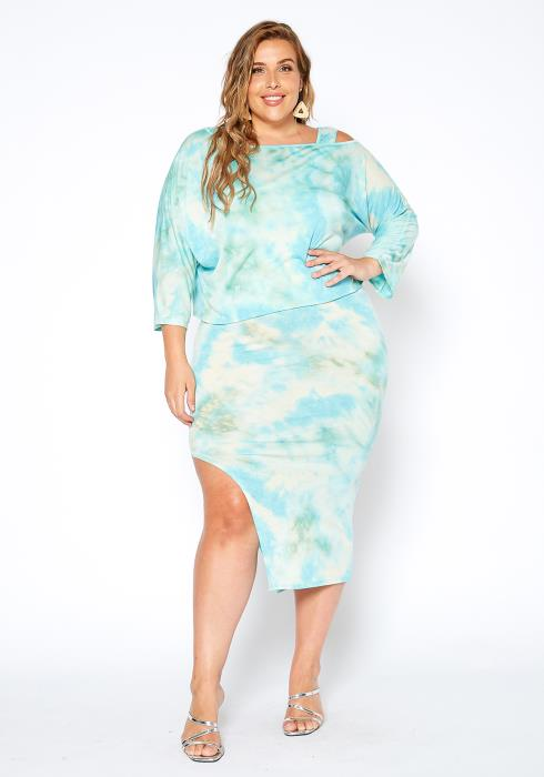 Asoph Plus Size Aqua Tie Dye Sweatshirt & Midi Dress Set
