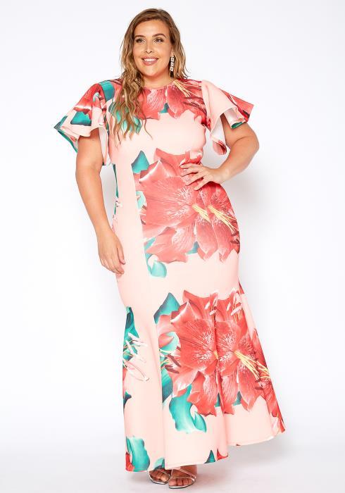 Asoph Plus Size Rosey Bloom Formal Mermaid Maxi Gown