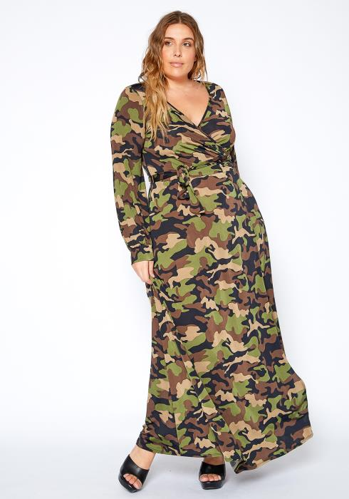 Asoph Plus Size Camo Wrap Dress With Slit