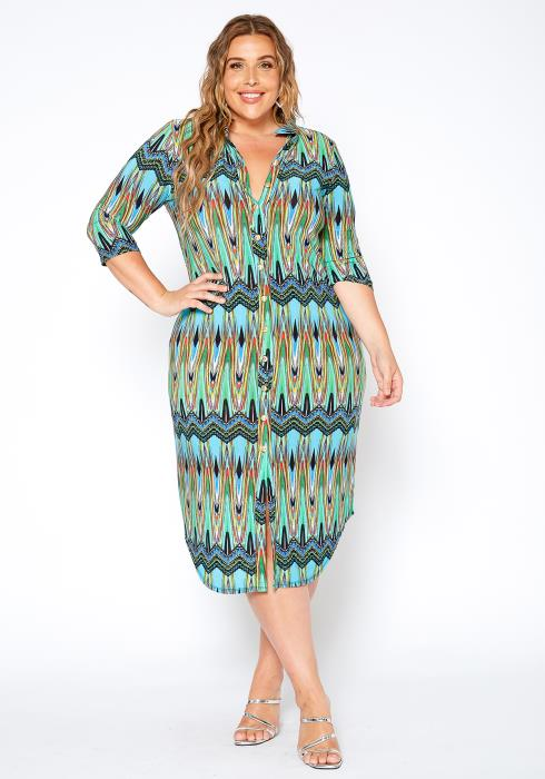 Asoph Plus Size 70s Boho Print Collar Midi Dress