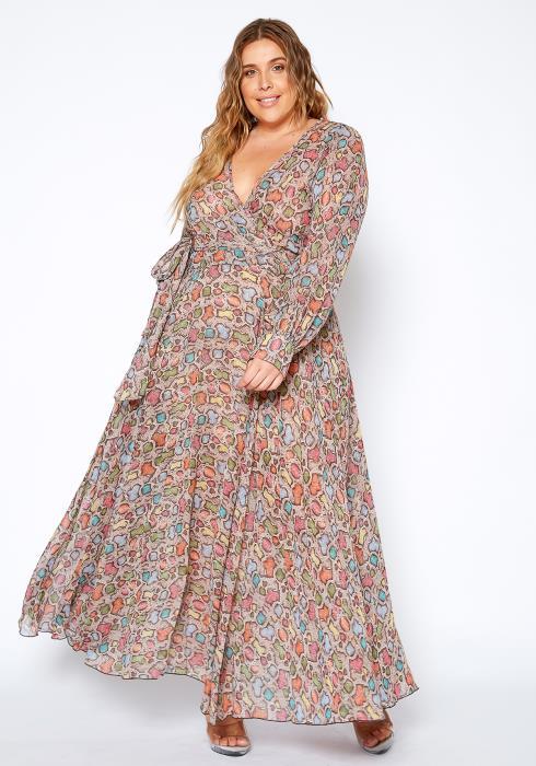 Asoph Plus Size Animal Print Maxi Wrap Dress