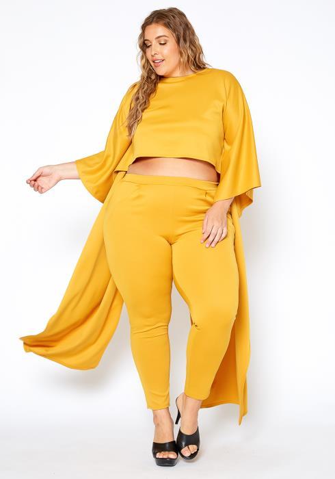 Asoph Plus Size Maxi Cape Crop Top & Fitted Pants Set