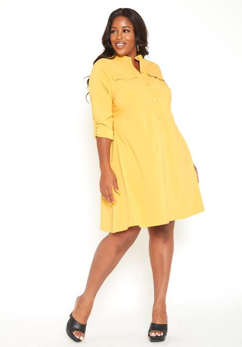 Asoph Plus Size Mandolin Collar Fit & Flare Mini Dress