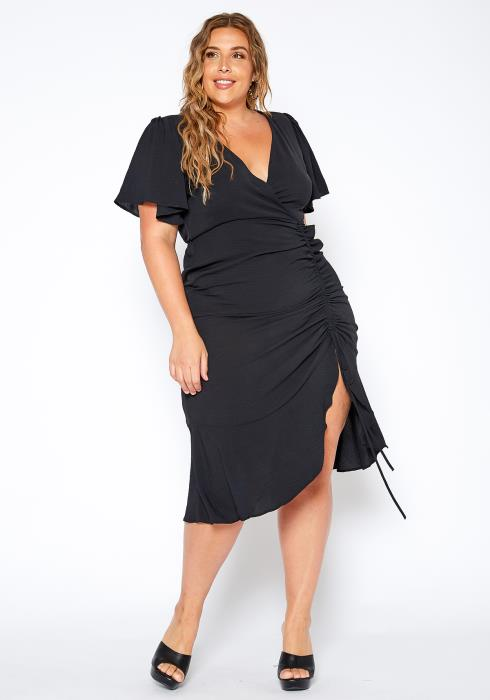 Asoph Plus Size Ruched Drawstring Rita Midi Dress