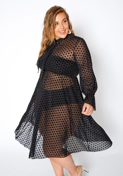Asoph Plus Size Flirty Polka Dot Fit & Flare Mesh Dress
