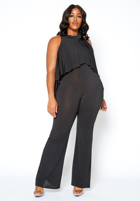 Asoph Plus Size First Class Sleeveless Overlay Jumpsuit