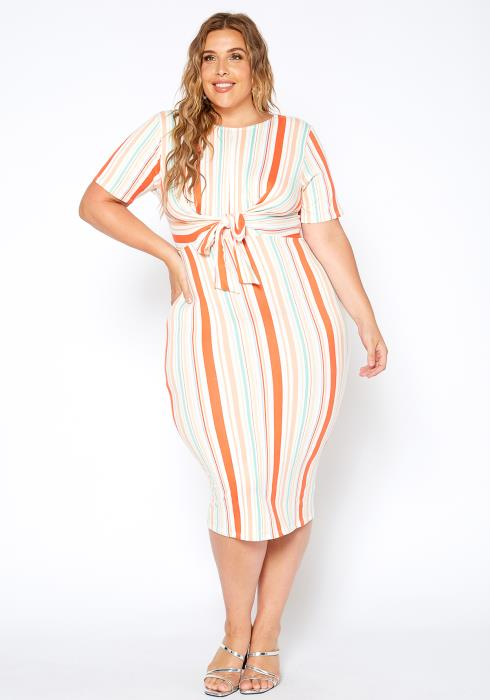 Asoph Plus Size Orange Striped Knot Front Bodycon Dress