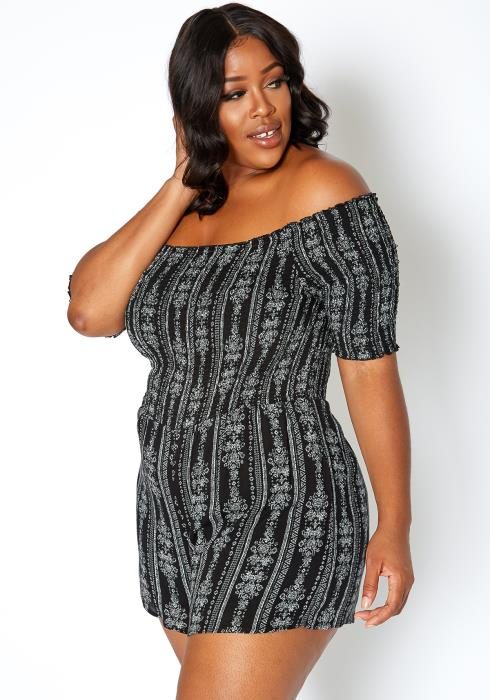 Asoph Plus Size Renaissance Print Off Shoulder Romper