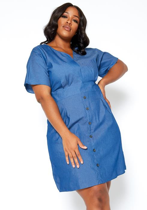 Asoph Plus Size Blue Denim Fit & Flare Mini Dress