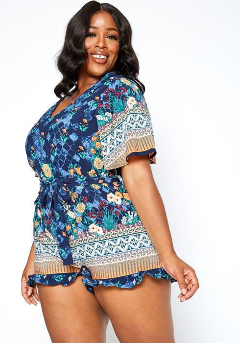 Asoph Plus Size Bohemian Patterned Open Back Romper