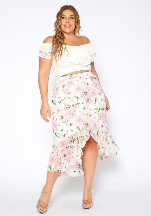 Asoph Plus Size Garden Floral Ruffle End Midi Skirt