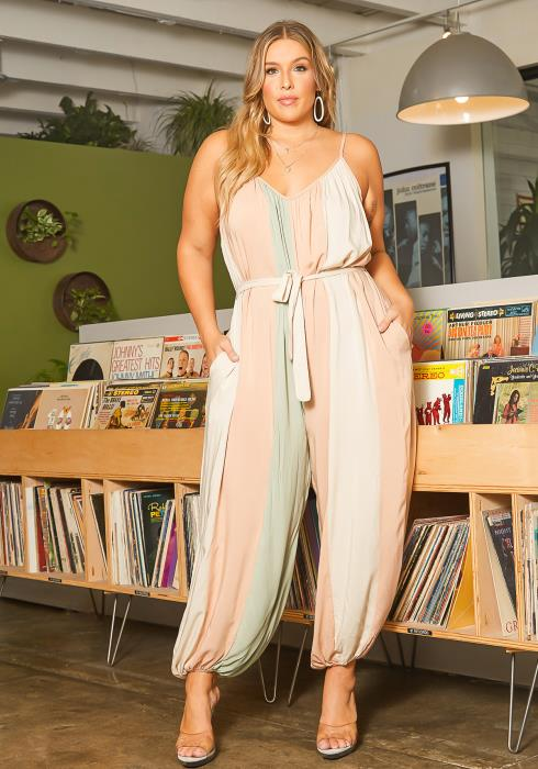 Asoph Plus Size Pastel Color Striped Cami Jumpsuit
