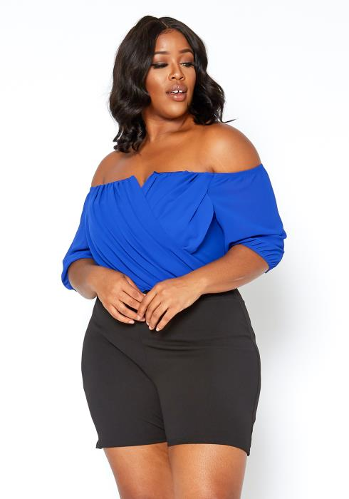 Asoph Plus Size Elegant Party Off Shoulder Romper