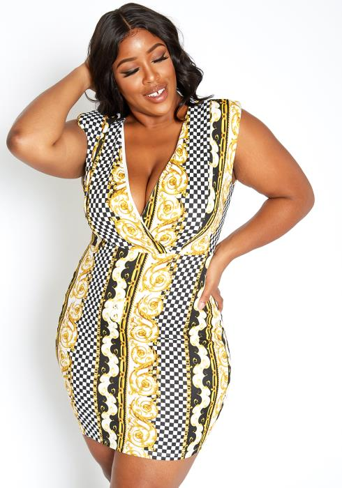 Asoph Plus Size Golden Checkered Contrast Bodycon Mini Dress