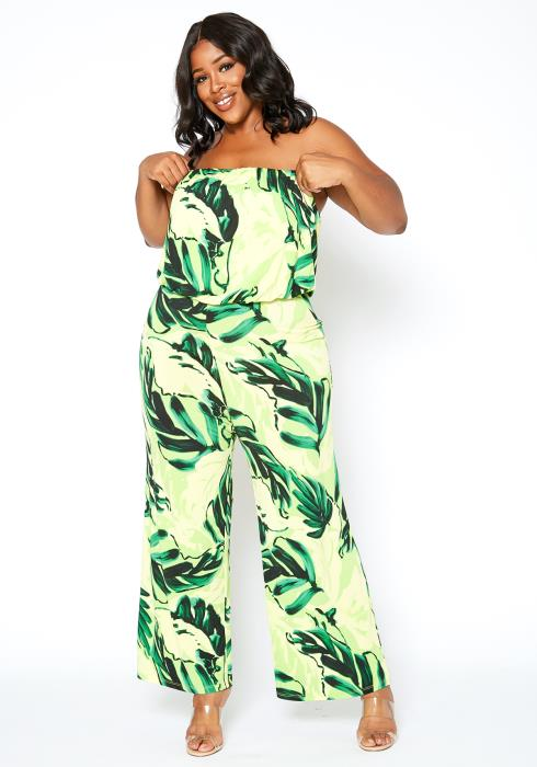 Asoph Plus Size Green Garden Leaf Tube Jumpsuit