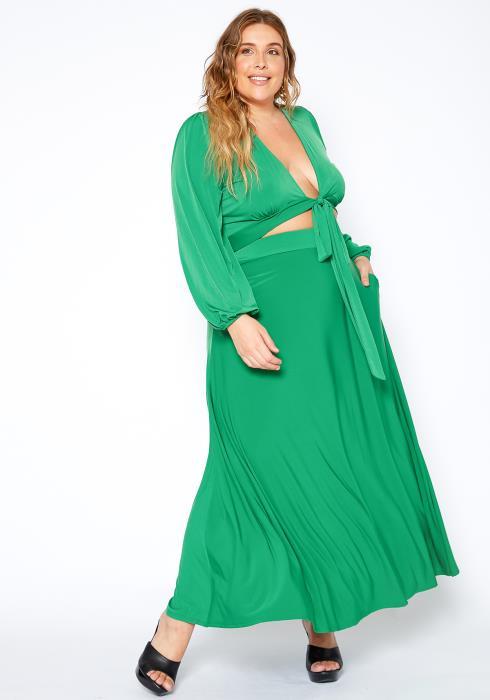 Asoph Boho Crop Top Maxi Skirt Two Piece Set