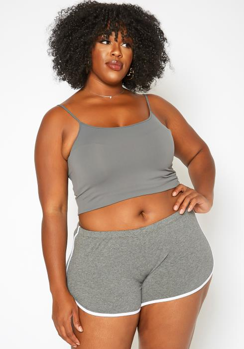 Asoph Plus Size Striped Hem Dolphin Track Shorts