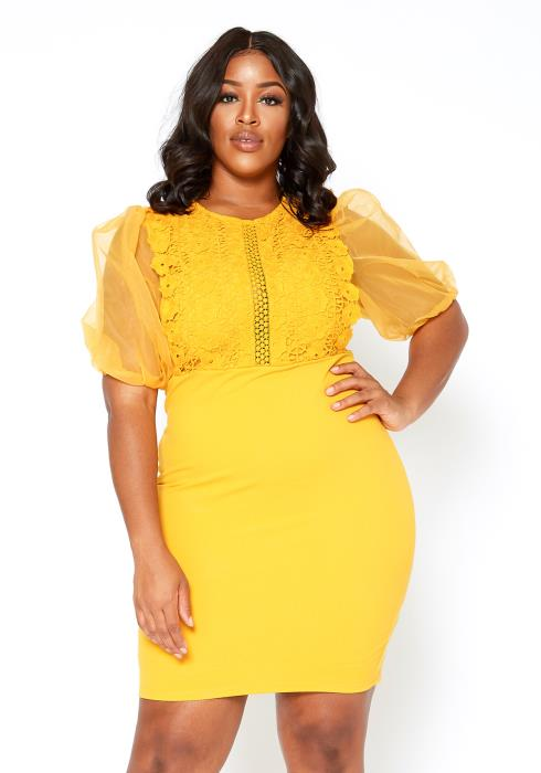 Asoph Plus Size Embroidered Contrast Bodycon Mini Dress