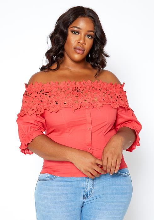 Asoph Plus Size Embroidered Design Summer Top