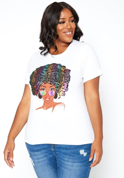 Asoph Plus Size Proud Statement Graphic Tee Shirt