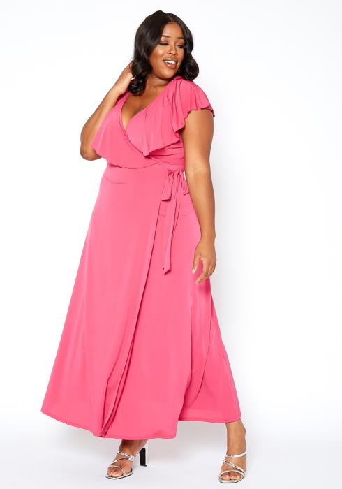 Asoph Plus Size Ruffle Overlay V Neck Wrap Maxi Dress