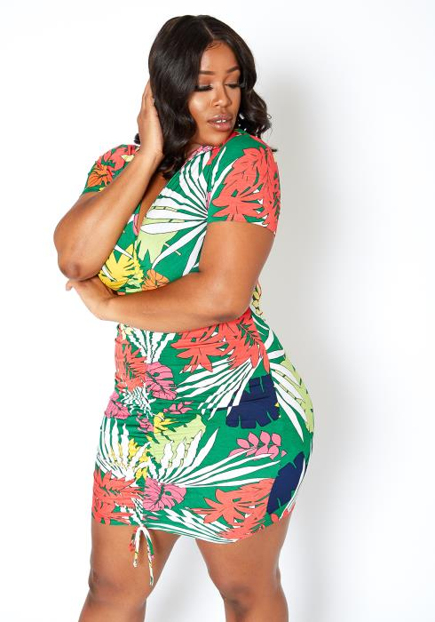 Asoph Plus Size Hawaiian Leaf Ruched Drawstring Mini Dress