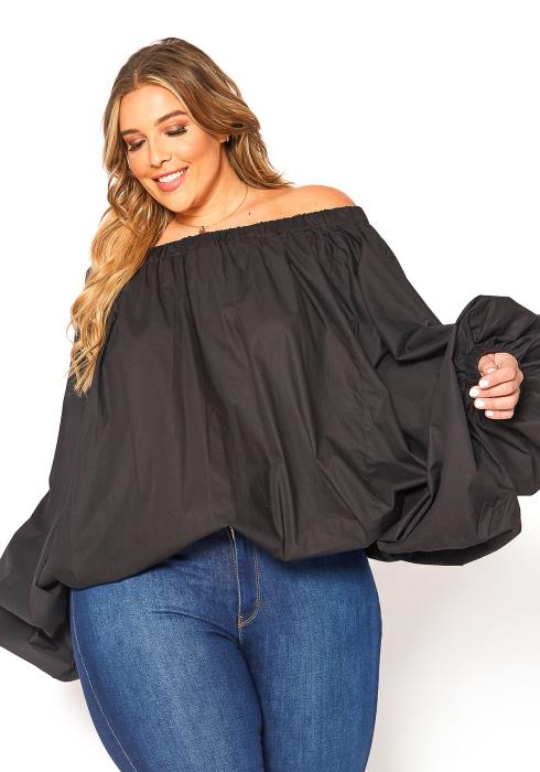 Asoph Plus Size Off Shoulder Puffy Batwing Sleeve Top
