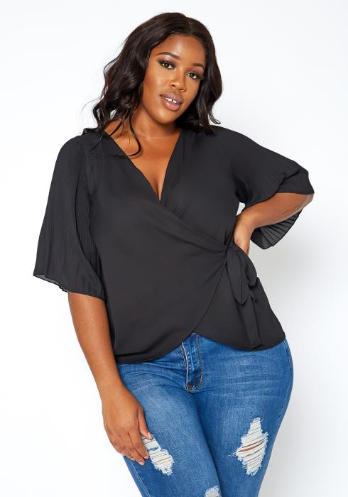 Asoph Plus Size Pleated Angel Sleeve Wrap Blouse