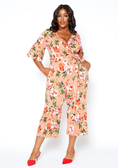 Asoph Plus Size Rosey Dream V Neck Wrap Jumpsuit