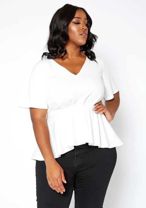 Asoph Plus Size Fancy White V Neck Peplum Blouse