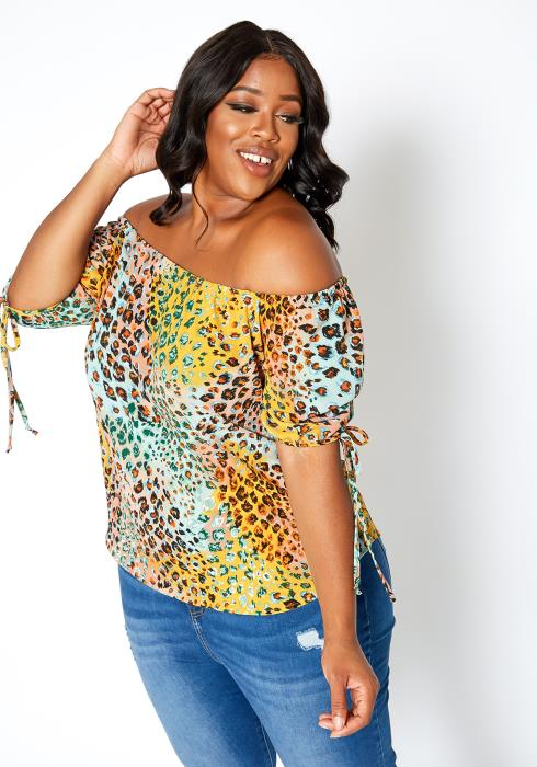 Asoph Plus Size Leopard Frenzy Off Shoulder Blouse