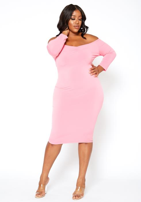 Asoph Plus Size Off Shoulder Pink Bodycon Midi Dress
